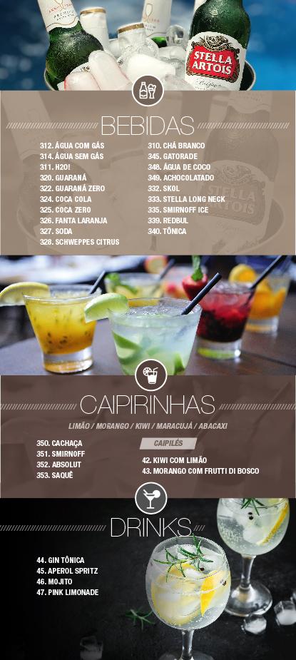 Conheça o nosso Cardápio Bebidas - Caipirinhas & Drinks - Opium Motel