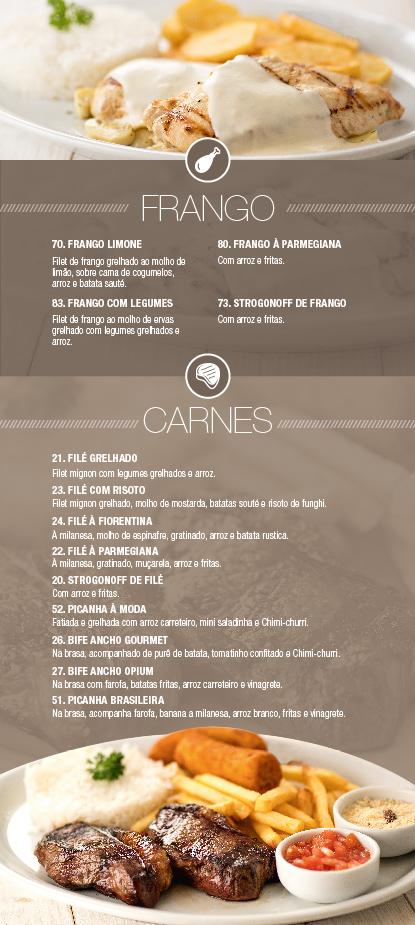 Conheça o nosso Cardápio Frango & Carnes - Opium Motel