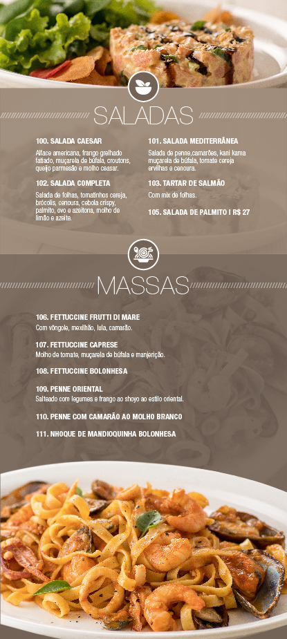 Conheça o nosso Cardápio Saladas & Massas - Opium Motel
